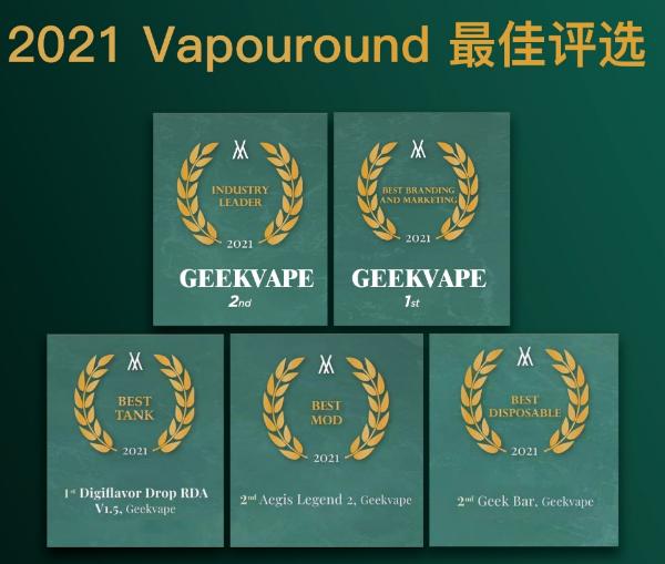 "Geekvape基克纳展现""行业领导者""硬实力,一举拿下5项国际大奖!"