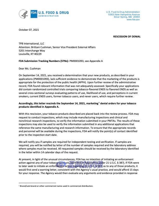 重大失误!FDA撤销电子烟公司TPB营销拒绝令,将重新审查